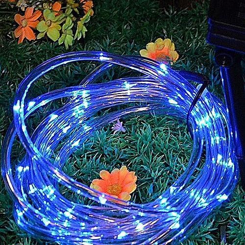 House Decor7M 50LED Solar Rainbow Tube Light String Christmas Wedding Party Decoration- Blue