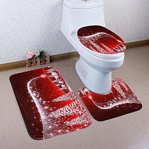 Christmas Village Pattern 3 Pcs Toilet Mat Bath Mat - Red