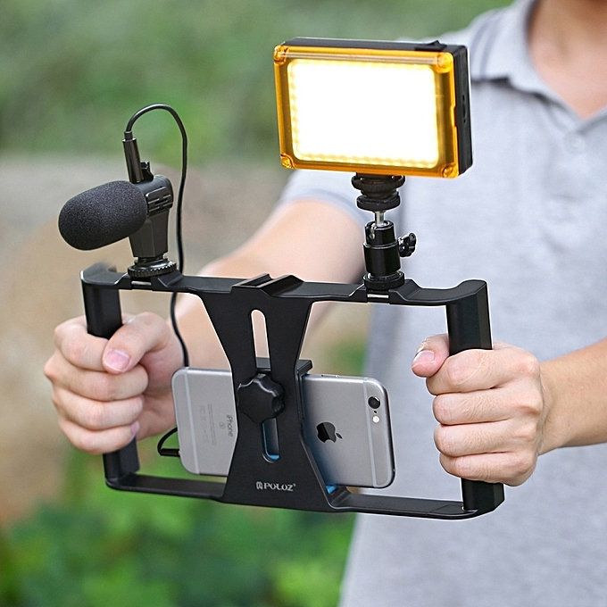 Smartphone Video Rig + LED Studio Light + Video Shotgun Microphone + Mini  Tripod Mount Kits With Cold Shoe Tripod Head For IPhone, Galaxy, Huawei,