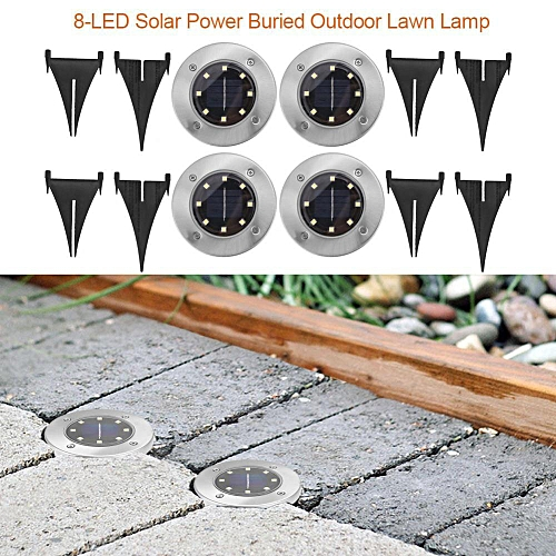 8-LED Solar Power Buried Ground Outdoor Yard Path Garden Lawn Landscape Lamp (White Light 4pc)
