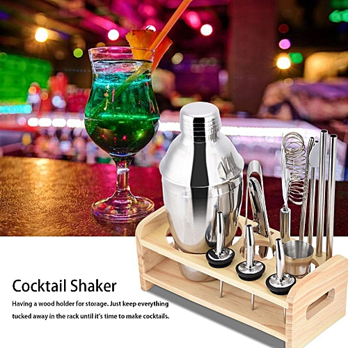 13pcs Stainless Steel Cocktail Shaker Mixer Drinker With Wood Holder Stand Drinking Tool Bar