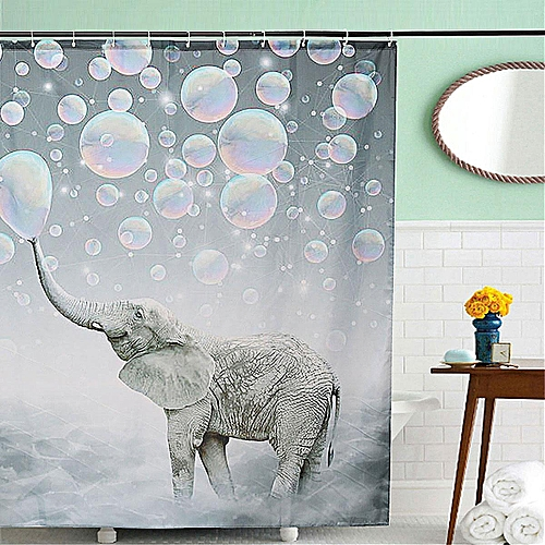 Elephant Pattern Waterproof Bathroom Shower Curtain Panel Decor With 12 Hooks