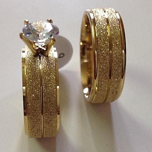 Bride And Groom Wedding Rings: Fashion 18carat Goldplated Wedding Rings (Bride And Groom
