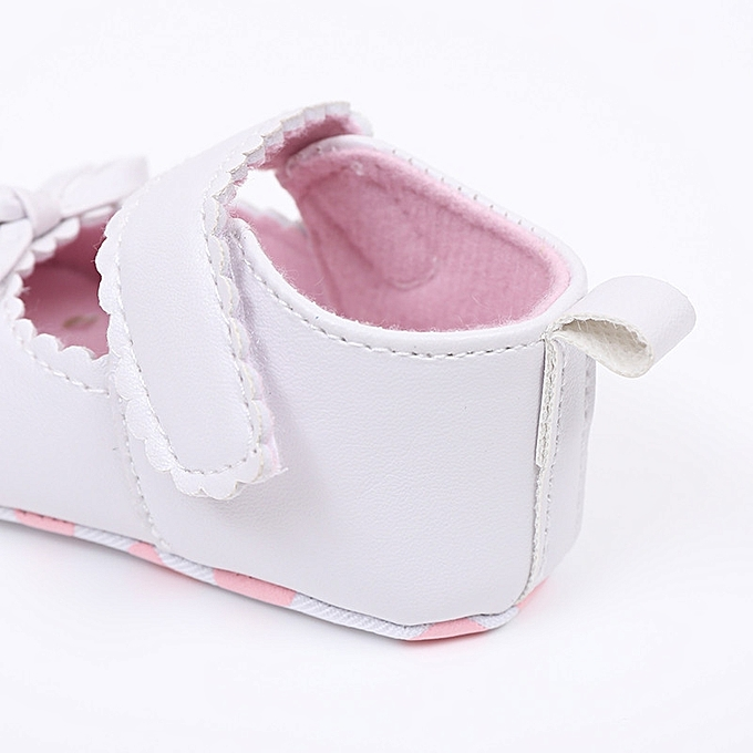 3b121eafad9 ... Newborn Infant Baby Girls Crib Shoes Soft Sole Anti-slip Sneakers  Bowknot Shoes- White ...