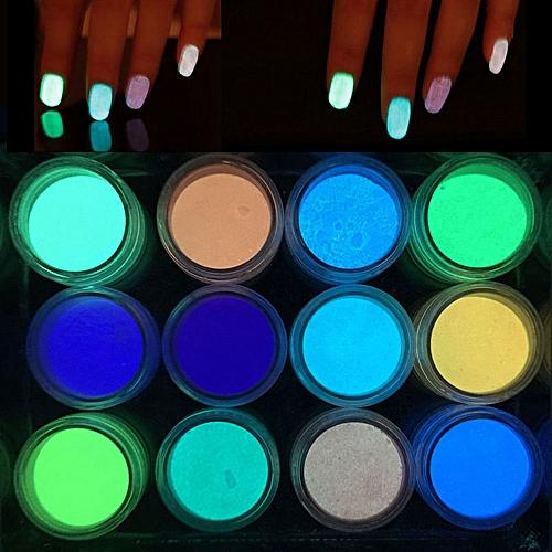 Generic Glow In The Dark Nail Powder Sand Fluorescent Luminous Neon