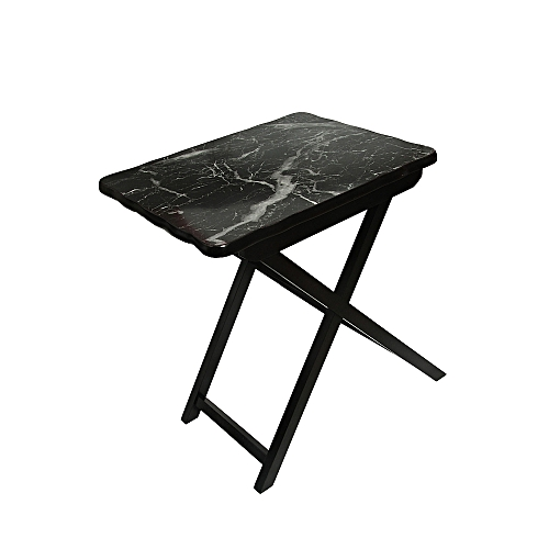 Foldable Side Table With Black Stone Head