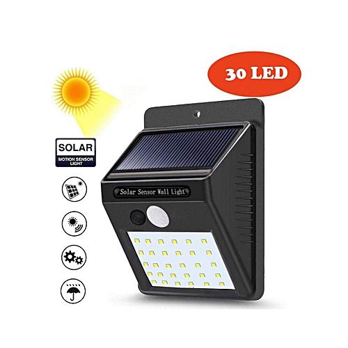 30 LED Outdoor Solar Wall Light With Motion Sensor-Black