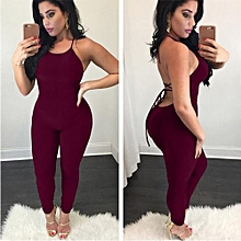 e8c460b95ba New Fashion Backless Sexy Bandage Halter Romper Slim Playsuit Fitness  Nightclub Lady Outfits-red