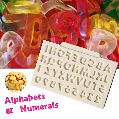 Silicone Fondant Mold Alphabets Letter Number Mould Chocolate Cake Cooking Decor