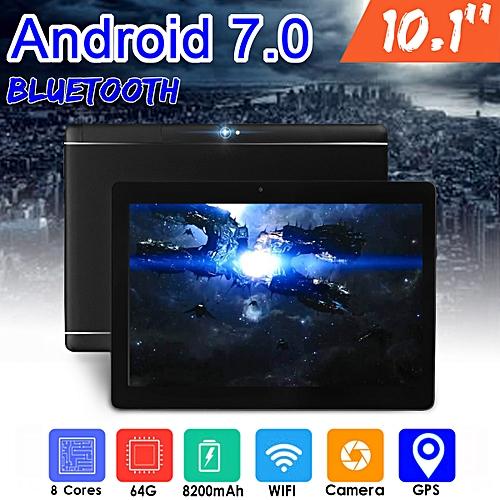 Tablet PC Black 10.1'' 64GB+4G Android 7.0 Octa 8 Core HD WIFI Bluetooth 2 SIM 4G