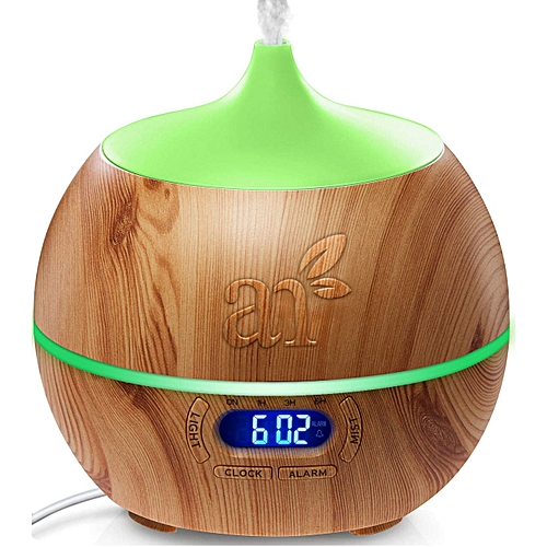 Essential Oil Diffuser, 400ml (Ultrasonic Aroma Humidifier With Bluetooth Speaker Clock - Adjustable Mist Mode, Auto Shut-Off And 7 Color LED Lights)