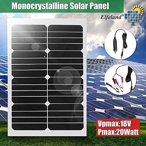 20W 12V Mono Semi-Flexible Solar Panel Battery Charger W/ Car Charger For Boat
