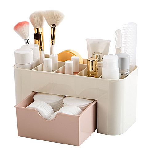 Multi-functional Plastic Cosmetic Storage Box Jewelry Box With Small Drawer Desk Sundries Storage Co