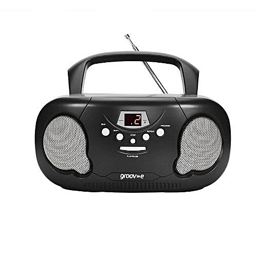 Portable CD Player Boombox With AM/FM Radio Black