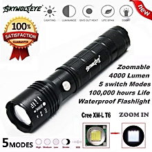 Camping Hiking Flashlight 4000Lumen 5 Modes Zoomable CREE XM-L T6 LED 18650