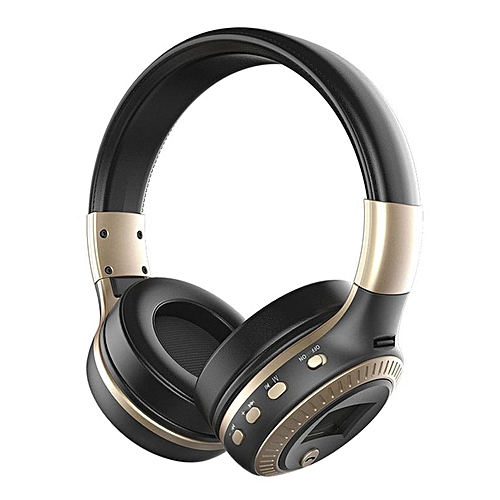 Active Noise Cancelling Bluetooth Wireless Over Ear Headphones With Microphone Black & Golden ,