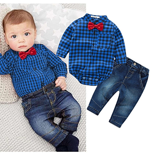 c71f40f6 Fashion 2pcs Kids Baby Boy Romper Bodysuit Jumpsuit Tops+Jeans Pants  Outfits Clothes Set