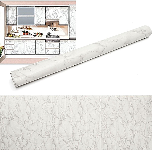 8pcs Gray Marble Decal PVC Contact Paper Peel Wall Sticker Home Decoration 79x24''