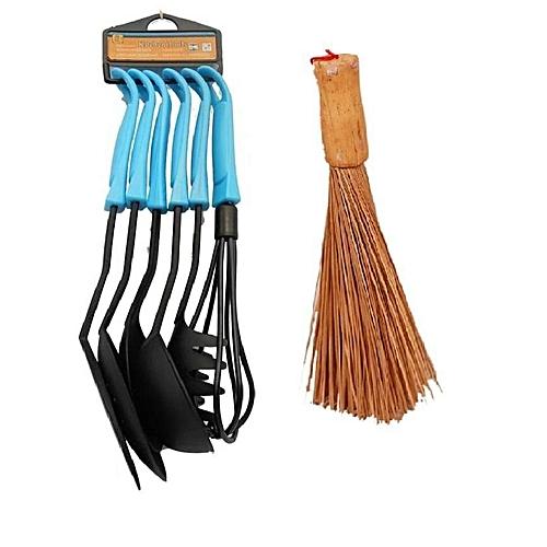 Non Stick Spoon 6Pcs+ Ewedu Meshing Broom