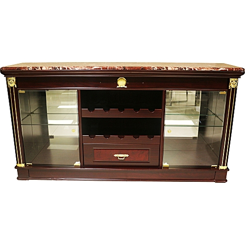 Home Furniture Brown Wood And Glass Display/Wine Cabinet