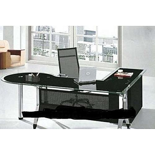 Block Ultra Modern Executive Black Glass Office Desk ...