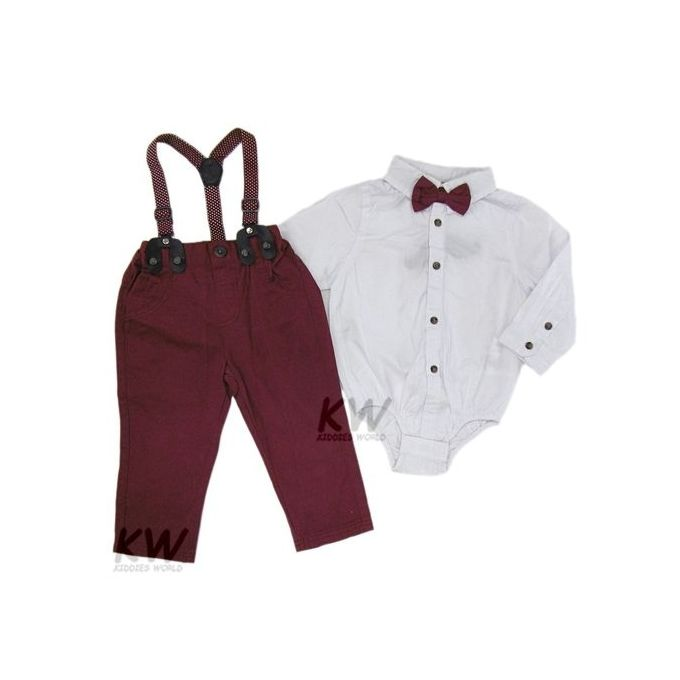 Baby Boys Bodysuit Shirt, Pant With Braces & Bow Tie Set - White And Brown
