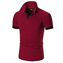 1d0231ad53 Mens Dress Casual Slim Fit Short Sleeve Polo Shirts -Red