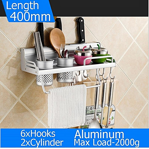 400mm 6 Hooks Space Aluminum Alloy Kitchen Holder