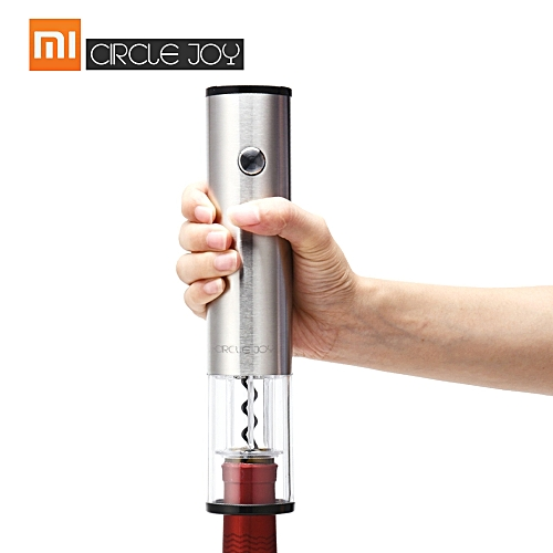 Xiaomi Circle Joy Round Wine Opener Stainless Steel Automatic Electric Corkscrews Wine Bottle Opener Wine Stopper Foil Cutter Base Cork Out Tool