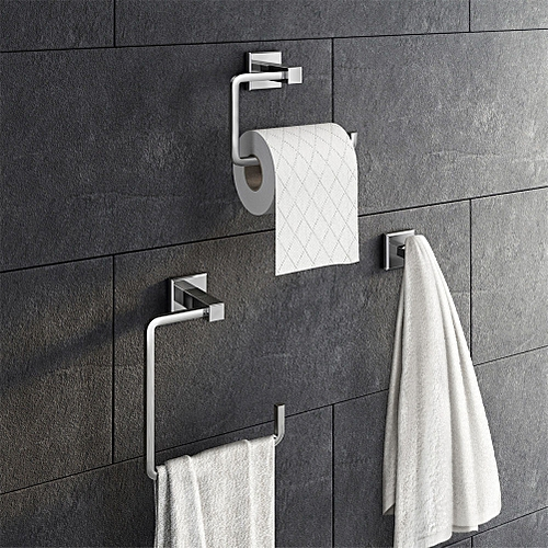 Stainless Steel Bathroom Accessory Set Toilet Roll Holder Towel Rack Robe Hook Wall Mounted 3PCS/Set Style:Silver