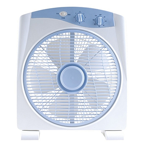 """12""""Box Fan BF-1288-white, With 80 Degree Oscillation"""