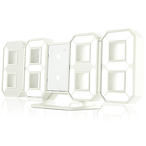 3D LED Digital Alarm Clocks Display Brightness Levels - White