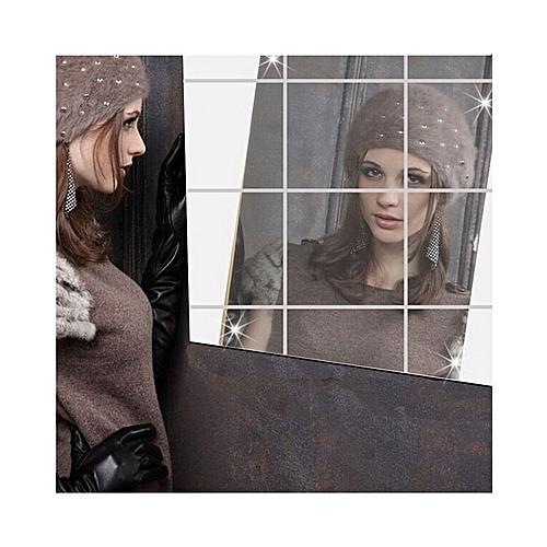 Creative Square Wall 3D Mirror Sticker For Bathroom Room Kitchen Home Decor-9pieces Per Set