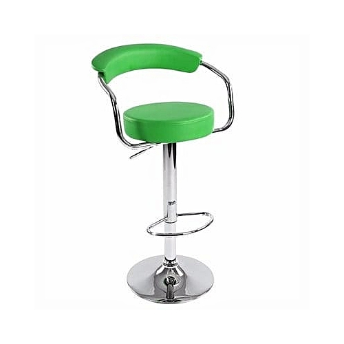 Chrome Bar Stool With Backrest - Green