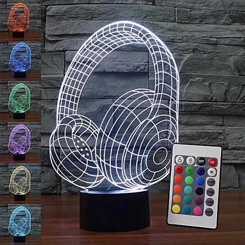 3D Illusion Led Lamp Best Gift 3D DJ Headphone Studio Music Monitor Headset 7 Color LED Night Light Touch Sleeping Nightlight Ne