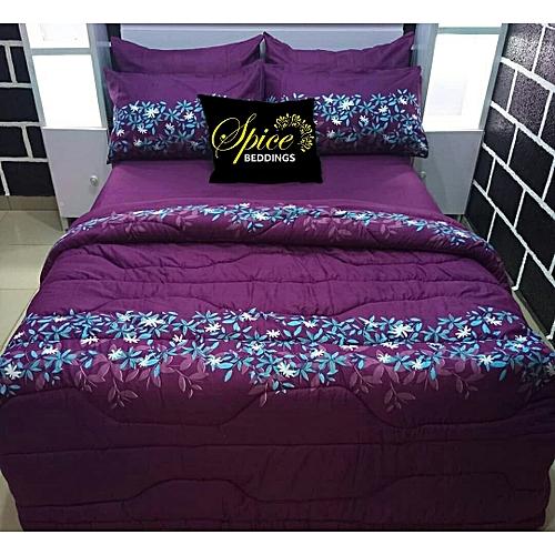 Purple Duvet, Bedsheet, Pillow Cases (Free Gift Inclusive)
