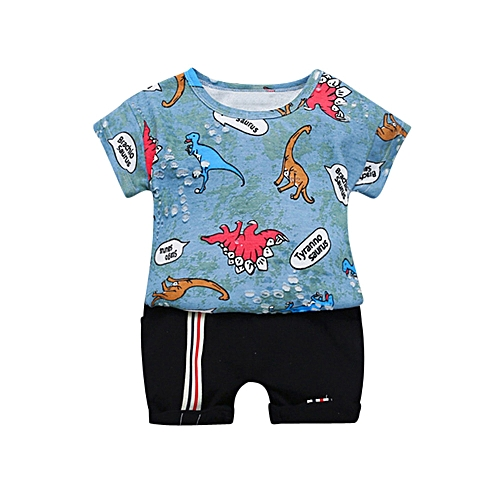648e40b4 Fashion Baby Outfit Infant Baby Boys Short Sleeve Cartoon Dinosaur Print  Top +Short Pant Set Outfits-Blue