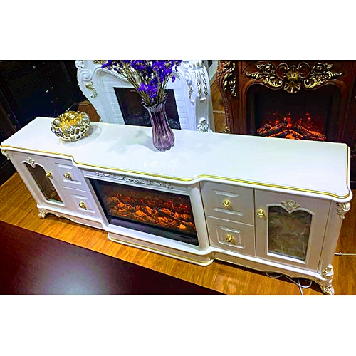 CREAM FIRE-PLACE TV CONSOLE/CABINET (Lagos,FCT, Anambra,Delta,Kano, Owerri,PH,Kwara,Ogun,Ibadan Delivery Only)