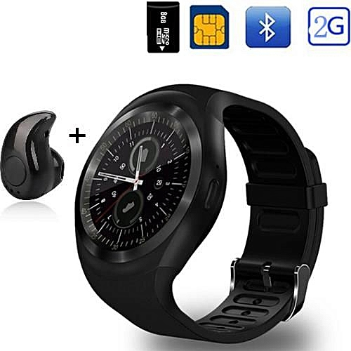 Round Smart Watch With Mini Bluetooth Earpiece; Y1 Smart Watch Supports Nano SIM & Memory Card For Men Women Business Smartwatch For IOS Android, Epic Gear 5 Black Watch