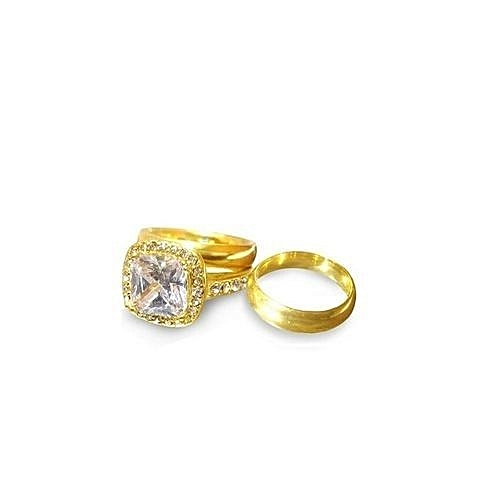 ACE Celia Gold Plated  Titanium Steel Wedding Ring Set (3 In 1)