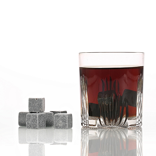 9pcs Whisky Ice Stones Drinks Cooler Cubes Beer Rocks Granite Pouch Light Gray