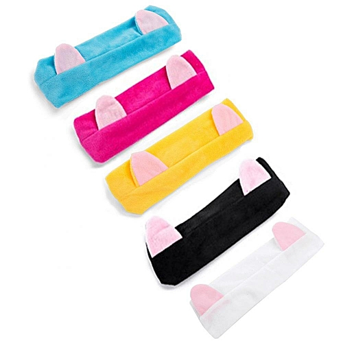 Cute Ears Style Elastic Women Hairband Shower Face Cleaning Cosmetic Hair Wrap Accessory