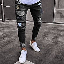 2dc7086ac0d Men Feet Badge Jeans Men  039 s Trends Knee Hole Zipper Feet Hole Denim