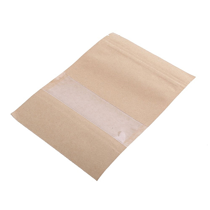 20pcs Kraft Paper Bag Pouch Stand Up Coffee Food Zip Lock Packaging Sealable With Window