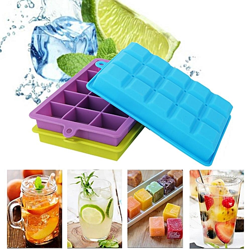 15 Grids Soft Silicone Square Ice Cube Mold Kitchen Bar