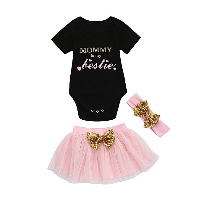 d446bbbfa Fashion 3pcs Toddler Baby Kids Girls Clothes Romper+Tutu Skirt ...