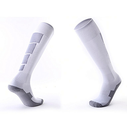 60401eb3ef6 Allwin 1 Pair Anti-Slip Soccer Sports Socks Men Sock Football Knee Above  Long Socks White & Gray