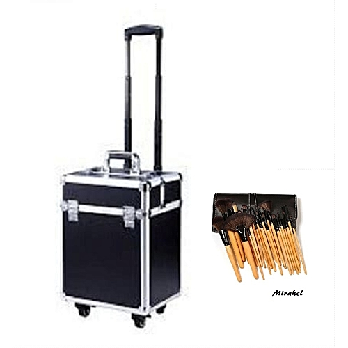 Generic Professional Makeup Box With Trolley - Black And Silver With Free 24 Set Bamboo Brush