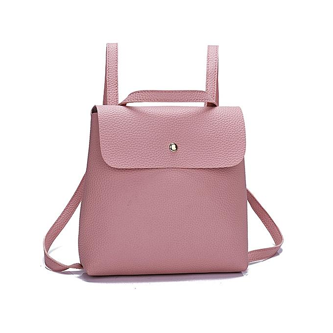 Fashion Fshion Women Girl Pure Color Leather Mini School