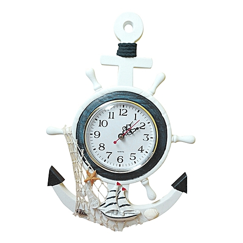 Nautical Wooden Mediterranean-Style Retro Sea Anchor Small Alarm Clock Gift